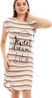 Printed & Striped Cape Sleeves Sleepshirt