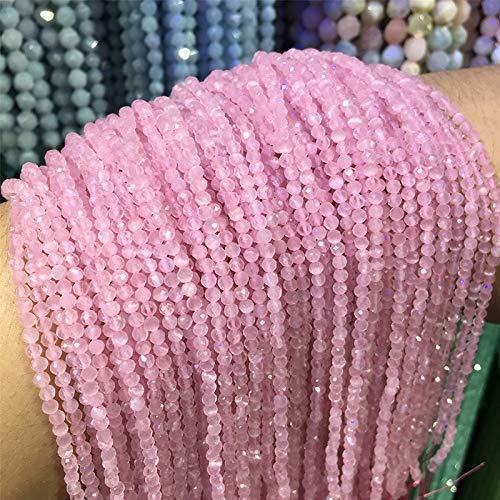 KUQIQI Wholesale facetado 2mm 3 mm Perlas de Piedra Natural Pequeño Gato Brillante Ojo Gema Suelta Perlas para joyería Haciendo Pulsera Collar Suministros (Color : Plata, Talla : 3mm)
