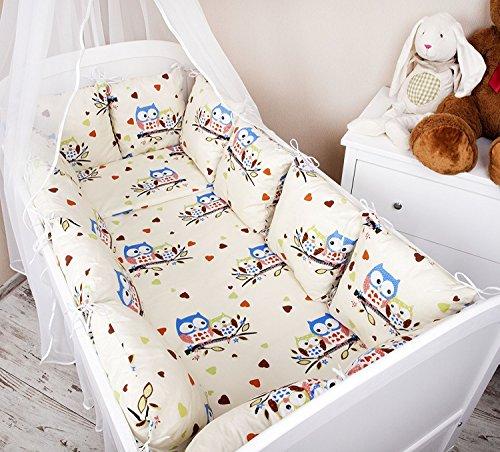Ami Lian® Baby paracolpi paracolpi 420cm Design: Gufo Ecru/Blu Grande paracolpi protezione angoli protezione per la testa per bambino letto Caratteristiche