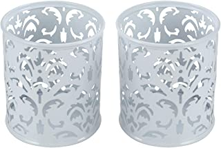 EasyPAG 2 Pcs 3-1/4 inch Dia x 3-3/4 inch High Round Floral Pen Holder, White
