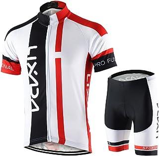 comprar comparacion Lixada Hombres Maillots de Bicicleta Conjunto de Ropa de Ciclo Jersey de Manga Corta + Pantalones Cortos Acolchados Cómodo...