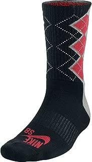 Nike Men's SB Argyle Skateboarding Performance Socks Large (8-12) Black Pink