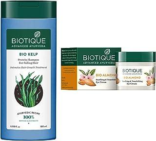 Biotique Bio Kelp Protein Shampoo for Falling Hair Intensive Hair Regrowth Treatment, 180ml And Biotique Bio Almond Soothi...