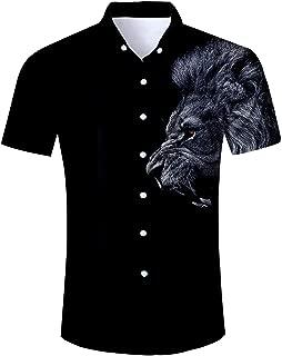 Hawaiian Shirt Men Tropical Button Down Dress Summer