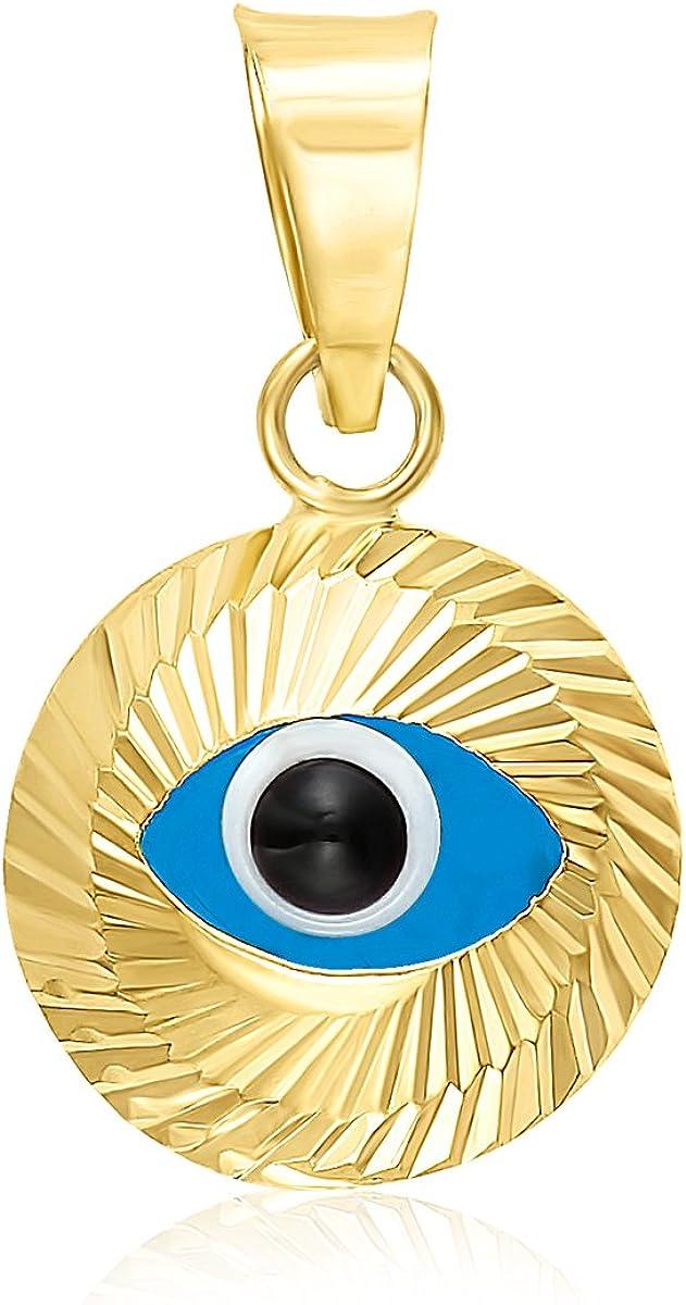 MCS Jewelry 14 Karat Yellow Gold Small Evil Eye Charm Pendant (9 mm)