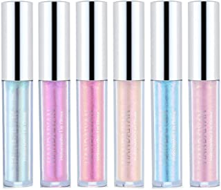New Glitter Lip Gloss Liquid Lipsticks Set of 6 Diamond Shimmer Metallic Lipstick Waterproof Long Lasting Shinning Iridescent Mermaid Shimmer Lip Gloss Face Eye Cosmetic Glow Shimmer Makeup Kit (6pcs)