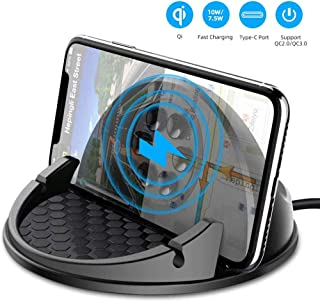 WIFORT Car Mount Wireless Charger, 7.5W/10W QC 3.0 Qi Fast Charging Car Dashboard Mount, Anti-Slip Phone Holder for iPhone 11/11 Pro/ 11 Pro Max/Xs Max/Xs/XR/X/8+/8/SE 2020, Samsung S10+/S10/S9+/S9