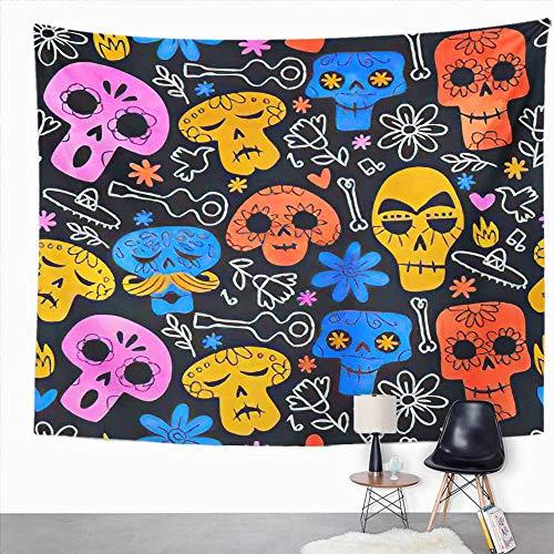 Y·JIANG Tapiz de calavera, diseño de calavera del día de los muertos, divertido esqueleto de acuarela con caras sonrientes, colorido tapiz decorativo para el hogar, dormitorio, 203 x 152 cm