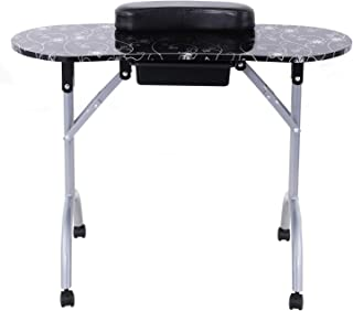 Dakavia Nail Table Folding Manicure Desk Station with Drawer Wheels and Carry Bag, Portable, Spa Beauty Salon, CARBII Certification, Black.