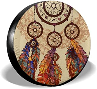 ENEVOTX Hand Drawn Ornate Dreamcatcher Feathers Gemstones Jeep Tire Covers Tire Wall Protector Tire Cover Waterproof Uv Sun 14 - 17 Fit for Jeep Trailer Rv SUV and Many Vehicle