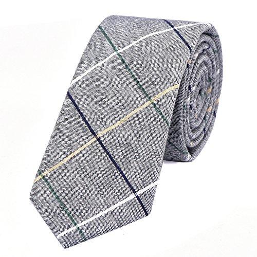 DonDon Corbata de rayas de algodón para hombres de 6 cm - gris rayado