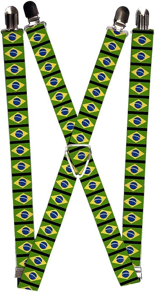 Buckle-Down Men's Suspender-Brazil, Multicolor, One Size