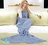 "Hughapy Soft Crochet Mermaid Tail Blanket for Teen/ Adult,(71""X35.5"",Blue)"