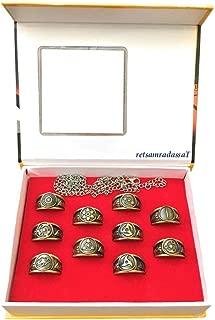 retsamradassaT Naruto Shippuden Uchiha Sasuke Itachi Sharingan Akatsuki Symbol Cosplay Ring Complete Set with Necklace Chain in a Box (10 Pieces)