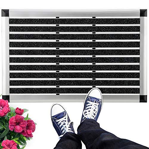 bomoe Alu Fußmatte 50x80 cm AluGant Haustür Fußabtreter mit Gummi - Schmutzfangmatte für den Außen & Innenbereich