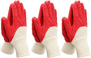 Worth Garden Tools Gloves 3 Pairs Small Comfort Coated Gardening Work Gloves - Size 7 - Red