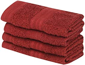 Portico York EVA 100% Cotton Super Soft 8 PC Face Towel- 30X30 cm (Red)