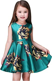 Kidscool Little Girls Sleeveless Yellow Rose Print Green Princess Dress