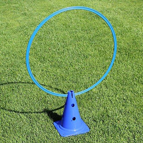 Superhund24 4 x Kombi-Kegel 30 mit Kombi-Ring 70 cm, in 4 Farben, für Agility-Training (blau)
