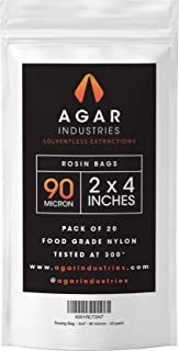 Agar Industries - Rosin Press Filter Bag -Screens for Solventeless Oil Extractions in Rosin Tech (20 pack, 2x4 in. 90 micron)