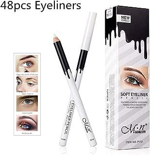 White Eyeliner Pencil Professional Highlighter Eye Liner Pen Soft Strokes Waterproof Long-Lasting Eyeshadow Eye Silkworm Brighten Pencil Beauty Makeup Tool (48pcs)