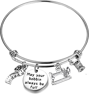 CHOORO Sewing Charm Bracelet May Your Bobbin Always be Full Quilting Bangle Sewing Lover Jewelery Gift for Seamstress
