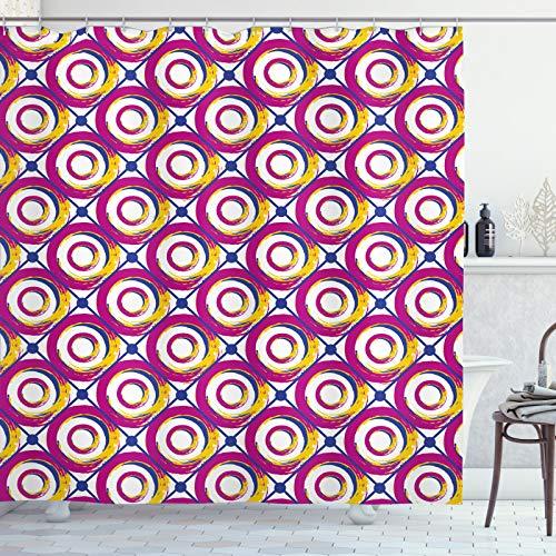 ABAKUHAUS retro Douchegordijn, Kleurrijke Hip cirkelswervelingen, stoffen badkamerdecoratieset met haakjes, 175 x 200 cm, Dark Magenta Yellow