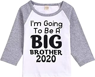 Baby Boys I'm Going to Be A Big Brother Announcement T-Shirt Short Sleeve Sibling Shirt Toddler