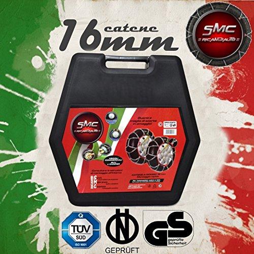 SMC Catene da Neve OMOLOGATE 16mm per Pneumatici 245 70 R 16 Gruppo 250
