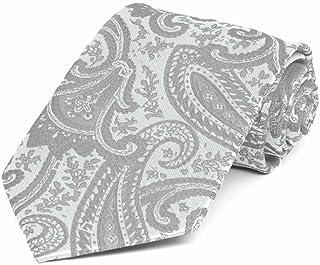 TieMart Boys' Mercury Silver Clara Paisley Necktie