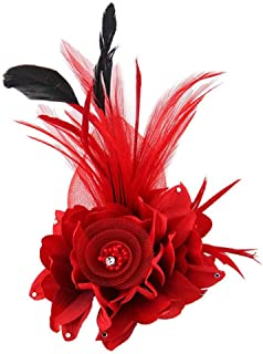 Song Qing Fascinator Feather Flower Hair Clip Pin Brooch Corsage Bridal Hairband Party Wedding for Women