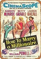 高輝度ティンサインインチ、1953ミリオネアと結婚する方法ティンウォールサイン警告サインメタルプラークポスター鉄絵画アート装飾バーホテルオフィスベッドルームガーデン