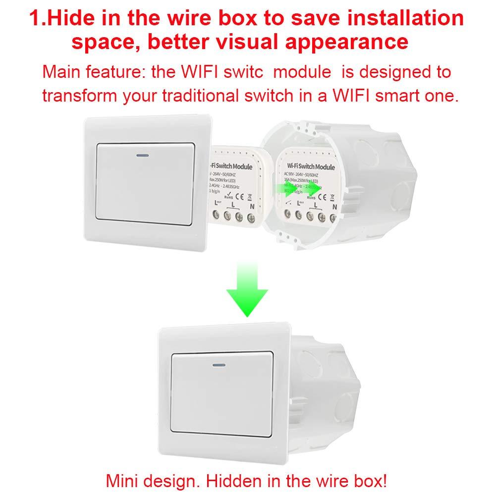 10A//2200W Mini Tuya WiFi Smart Switch Module Timing for Electric Appliances K6I4