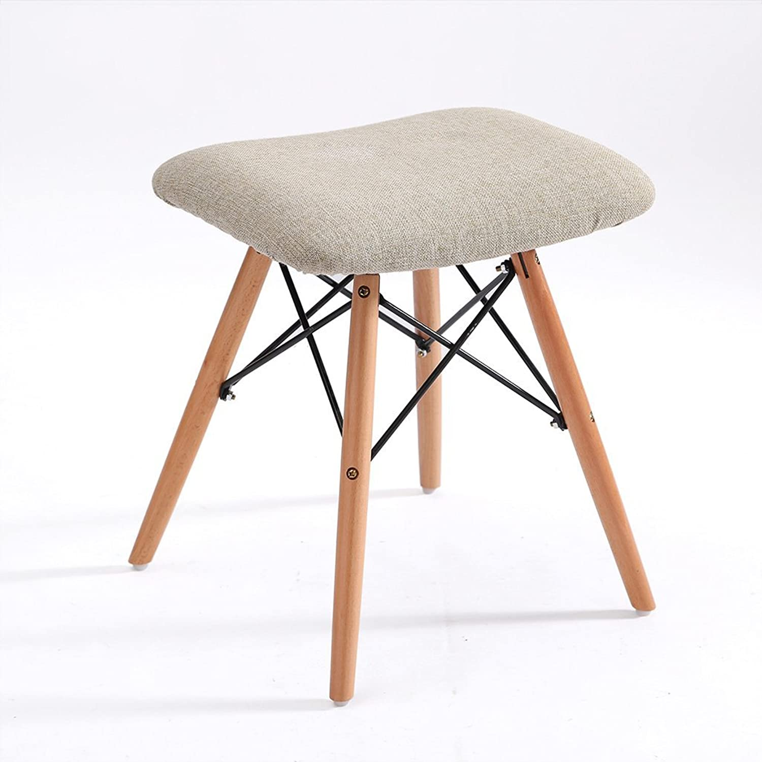 AIDELAI Bar Stool Chair- Stool Solid Wood Stool Fabric Removable Washable Chairs Casual Computer Chairs Home Stool Saddle Seat (color   A)