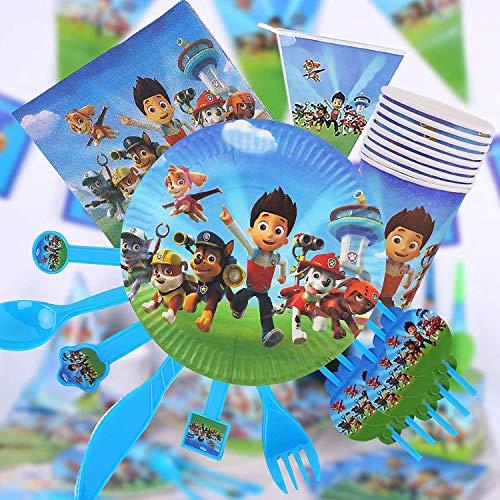 Gxhong 82 Stück Party Set, Paw Dog Kindergeburtstag Partyset, Einschließlich Banner, Tischdecke, Teller, Tassen, Servietten, Gabeln, Messer, Löffel und Strohhalme Geburtstagsdeko
