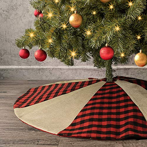 Ivenf Christmas Tree Skirt, 48 inches Buffalo Plaid with Burlap, Rustic Xmas Holiday Decoration, Red and Black