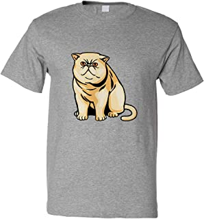 Custom Funny Graphic T Shirts for Men Exotic Shorthair Cat B Cotton Top