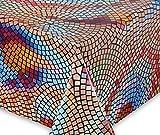 WACHSTUCH Tischdecken abwischbar rutschfest Meterware, glatt Buntes Mosaik, Größe wählbar (eckig 100 x 140 cm)