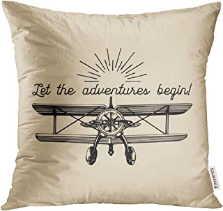 Golee Throw Pillow Cover Let The Adventures Begin Motivational Vintage Retro Airplane Typographic Inspirational Hand Decorative Pillow Case Home Decor Square 18x18 Inches Pillowcase