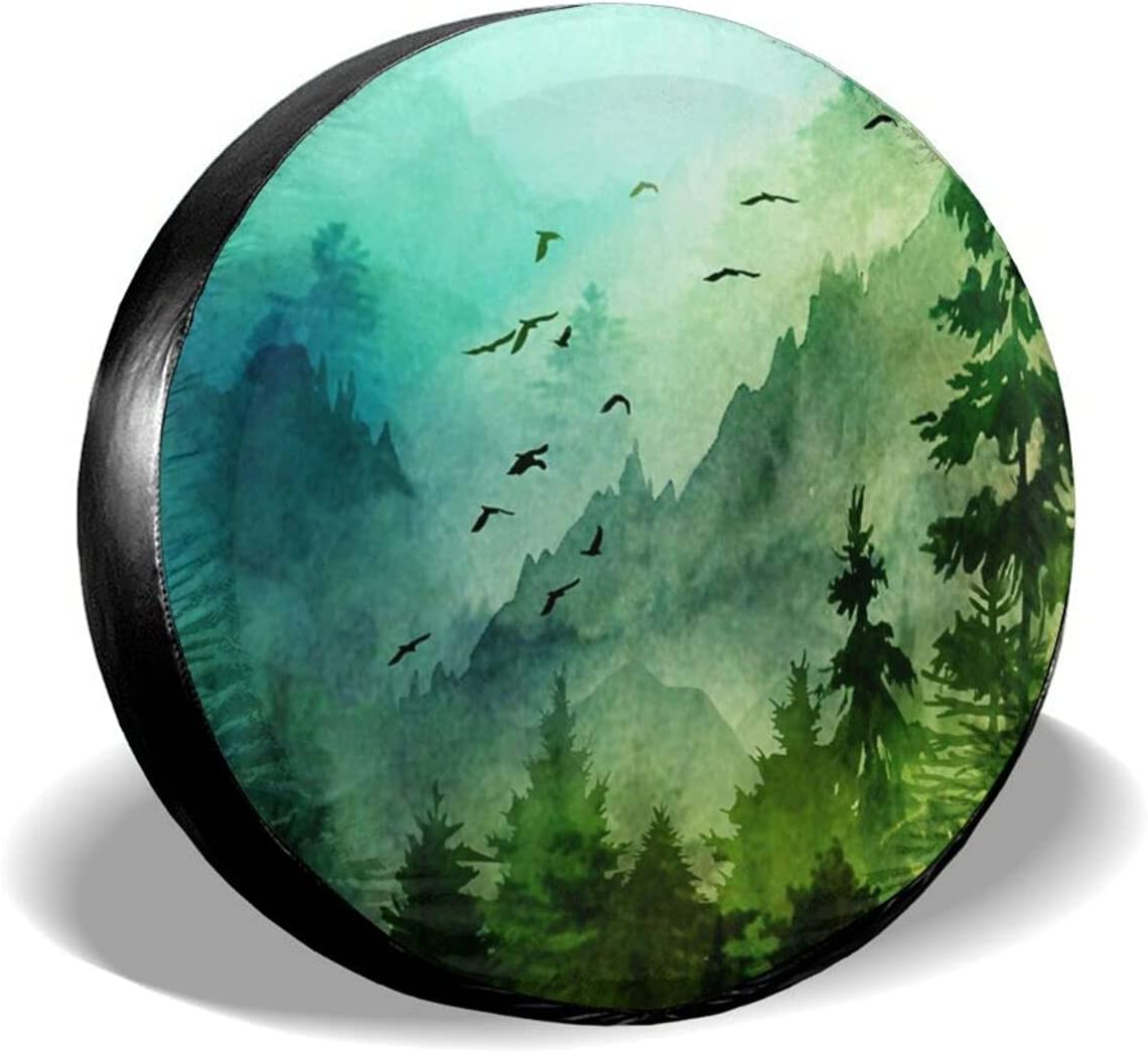 Wheel Tire Cover Mountain Max 85% OFF Forest Memphis Mall Painting Ink Tyre C Spare