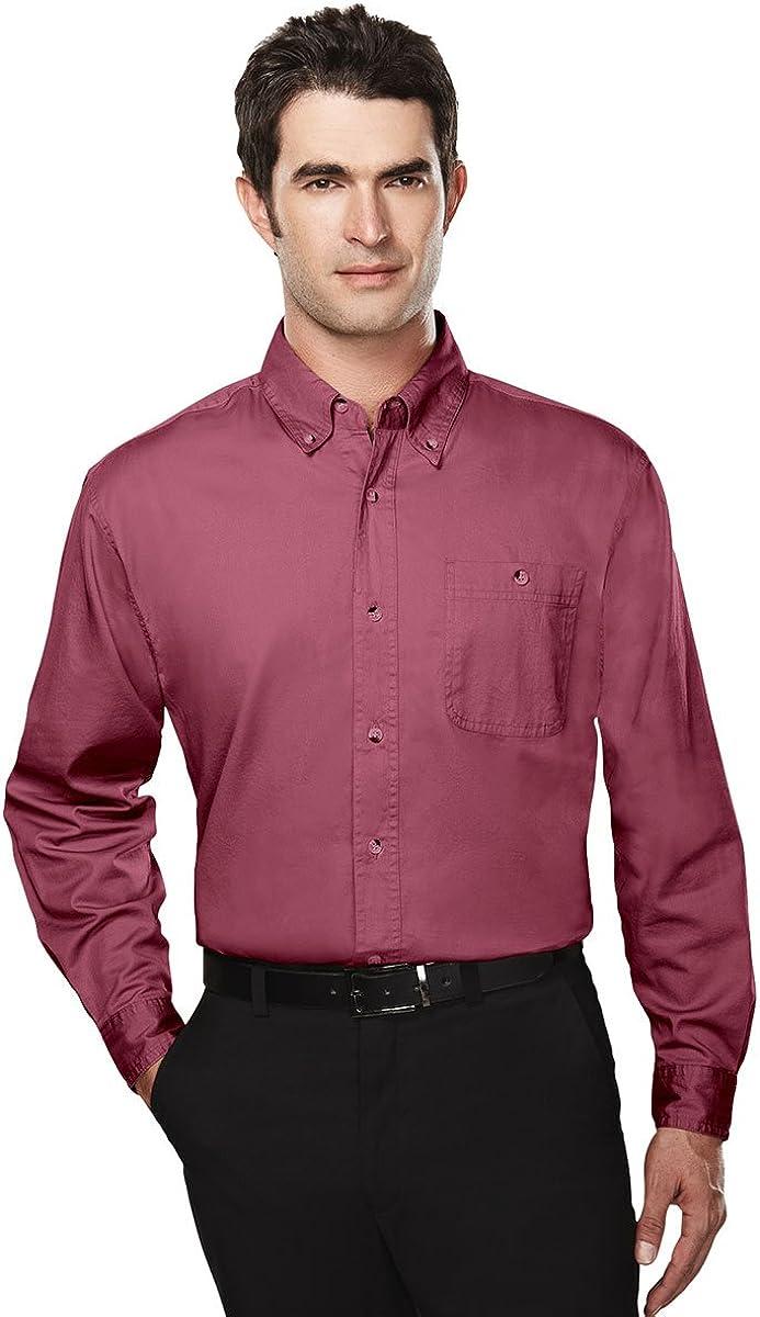 Tri-Mountain Big and Tall 6 oz. Cotton Long Sleeve Twill Shirt Maroon