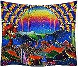 HESMENO Tapiz de pared con diseño de planeta y montañas, diseño psicodélico, setas y cactus