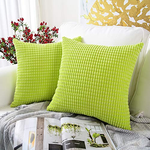MERNETTE New Year/Christmas Decorations Corduroy Soft Decorative Square Throw Pillow Cover Cushion Covers Pillowcase, Home Decor for Party/Xmas 18x18 Inch/45x45 cm, Green, Set of 2