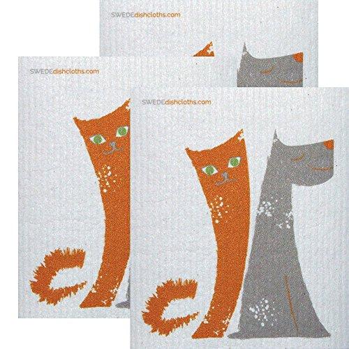 SWEDEdishcloths Dog/Cat Friends Set of 3 Each Swedish Dishcloths | ECO Friendly Absorbent Cleaning Cloth | Reusable Cleaning Wipes | Swedish Dish Cloths