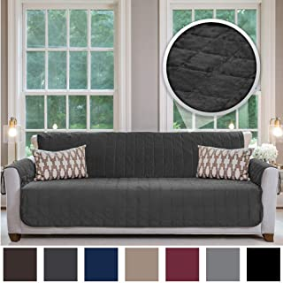 Gorilla Grip Original Velvet Slip Resistant Luxury Oversize Sofa Slipcover Protector, Seat Width Up to 78 Inch Patent Pending, 2 Inch Straps, Hook, Couch Furniture Cover, Dog, Oversize Sofa, Charcoal