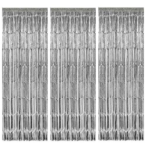 Geboor 3 Pack Metallic Tinsel Curtains 1x2.5m Fringe Foil Curtain for Wedding Birthday Party Door Windows Decorations (Silver)