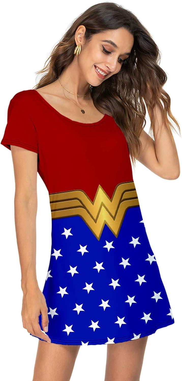 NADHIRAH Women's Summer Short-Sleeve Casual Swing T-Shirt Dress Pattern Print Soft Stretchy