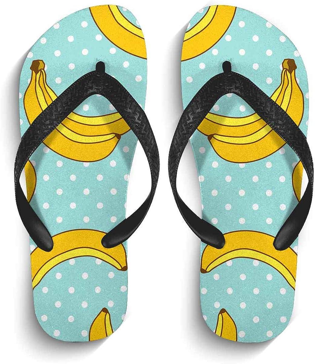 INTERESTPRINT Non-Slip Flip Flop Slippers Surfing Family with Surfboard Beach Sunset Black Straps Slim Thong Sandal for Men