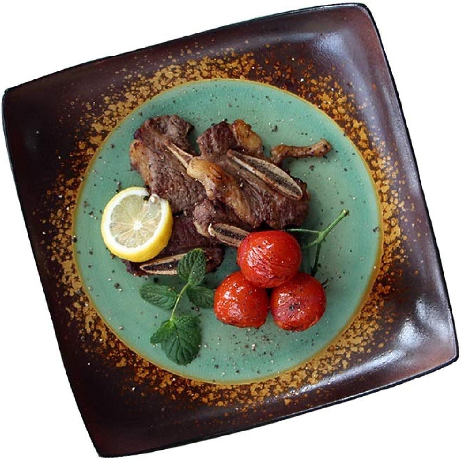 LiRongPing Vaisselle Créative Vintage, Assiettes en Céramique, Assiettes voiturerées Vertes (8 Pouces, 10 Pouces) (Taille   10inx2)