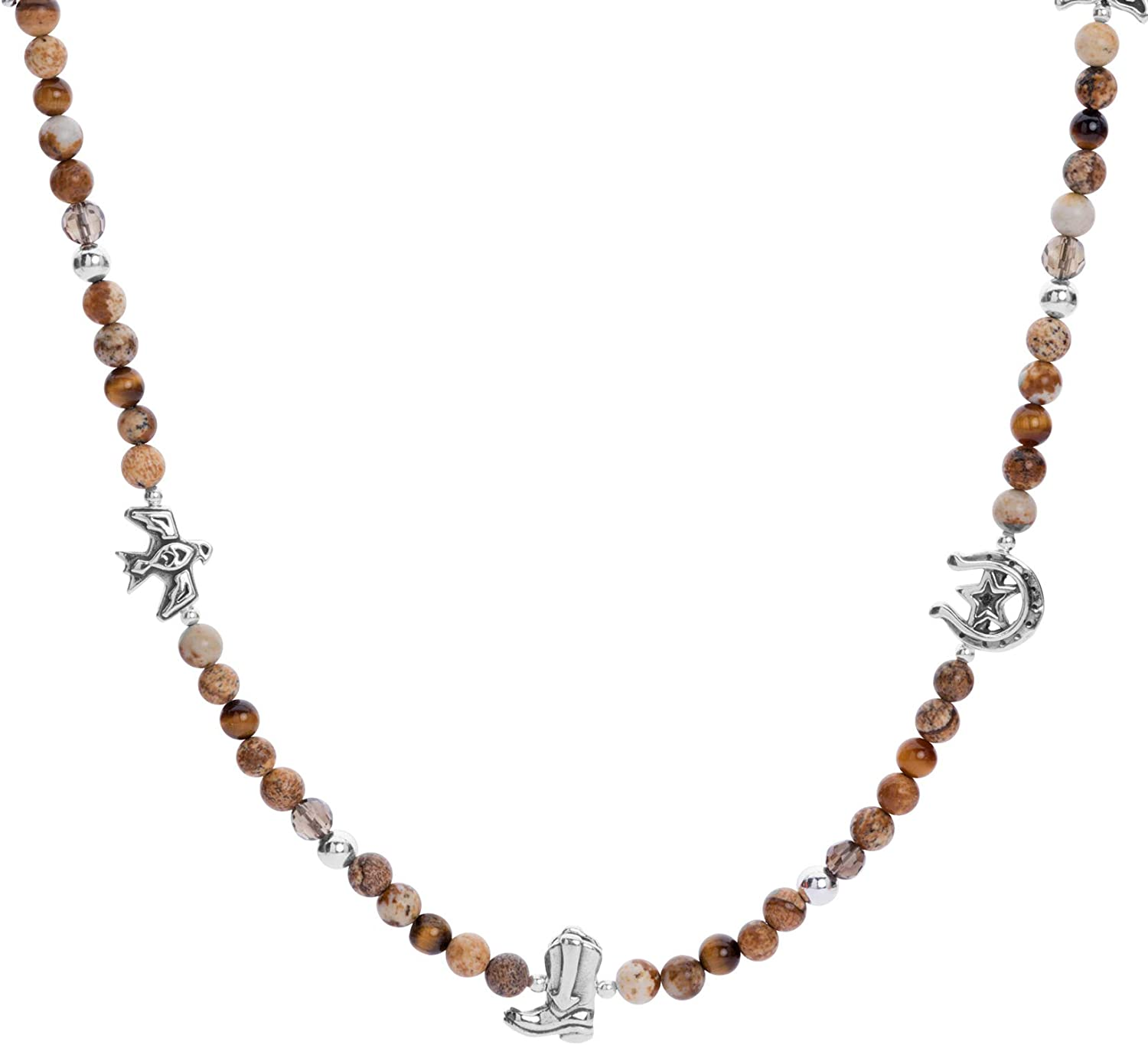 American Outstanding West Sterling Silver Smokey Online limited product Tiger Quartz Jasper Ey and
